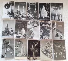 Retro karácsonyi képeslap fekete-fehér 15 db