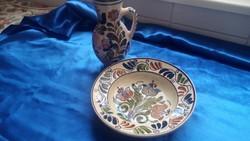 Korondi kerámia tányér és korondi kerámia bokány Simó Ignác korondi fazekasmester  műhelyéből  1955.