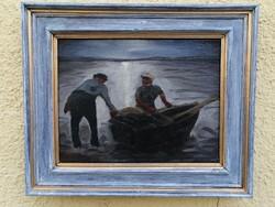 """""""Halászok"""" olajfestmény"""