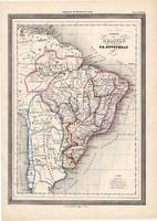 Brazil birodalom térkép 1861, olasz, eredeti, atlasz, Dél - Amerika, Bolívia, Argentina, Papaguay
