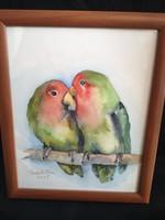 Szignózott akvarell kép papagájpár