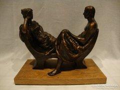 Rácz Edit ( 1936 -) bronzírozott terrakotta szobor