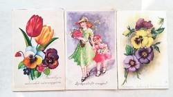 Régi képeslap 3 db lányok virágok