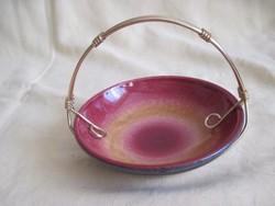Retro Iparművész kerámia fém füles tálka kínáló
