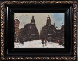 Berkes Antal (1874-1938): Budapesti téli utca a Klotild palotákkal
