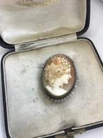 Antik kámea ezüst medál-bross