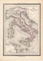 Ókori Itália térkép, kiadva 1861, olasz, eredeti, atlasz, történelmi, ókor, Róma, Olaszország
