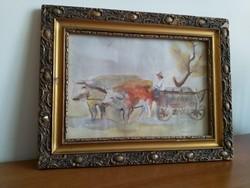 """""""Szőnyi I."""" szignóval ellátott Ökrösszekér festmény"""