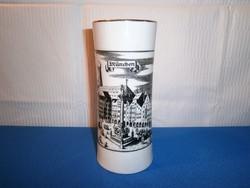 J_081 / Bavaria Jaeger & Co porcelán váza régi München látképpel 17,5 cm magas