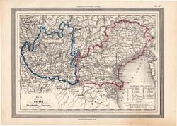 Lombardia és Velence térkép 1861, olasz, eredeti, atlasz, Olaszország, észak, Bescia, Verona, Padova