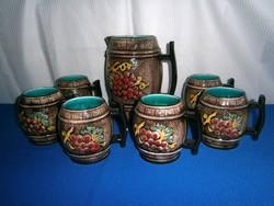 J_079 / Nagyon ritka Libertas San Marino kézzel festett kerámia boros készlet nagy kancsó 6 pohár