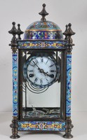 Francia rekeszzománc kandalló óra, 1880,
