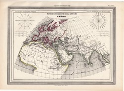 Antik világ térkép 1861, olasz, eredeti, atlasz, Italia, Gallia, Germania, Libia, Etiopia, Asia