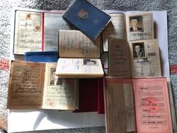 12 db régi német tagsági irat ( FDJ, FDGB, DTSB, vöröskereszt, stb) 1959 - től