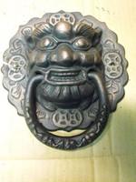 Ritka Nagy 21cm Feng shui Fó kutya Sárkány ajtó kopogtató öntöttvas ajtókopogtató