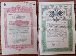 Antik osztrák részvények a Monarchiából.1853 és 1916 ból