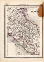 Közép - Olaszország térkép 1861, olasz, eredeti, atlasz, Romagne, Marche, Umbria, Sabina, Európa