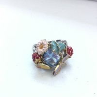 Különleges zománcfestett színes ezüst gyűrű akvamarin kővel