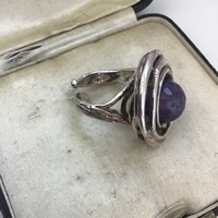 Kézműves ATHENA ezüst design gyűrű ametiszt forgatható kővel
