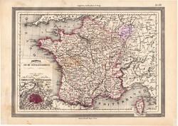 Franciaország térkép 1861, olasz, eredeti, atlasz, Párizs, 89 megye, francia, Európa