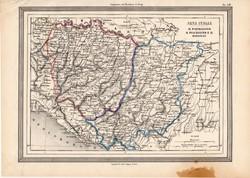 Parmigiano, Piacentino, Modenes térkép 1861, olasz, eredeti, atlasz, Olaszország, észak, Európa, dél