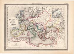 Európa az V. században térkép, kiadva 1861, olasz, eredeti, atlasz, történelmi, vízigótok, gepidák