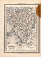 Toszkána térkép 1861, olasz, eredeti, atlasz, Közép - Olaszország, Európa, Firenze, Siena