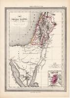 Szentföld térkép, kiadva 1861, olasz, eredeti, atlasz, történelmi, Jeruzsálem, Palesztína, kelet