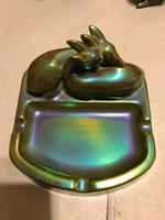 Zsolnay eozin Sinkó András őzes névjegytartó extra szép színekben kiváló állapotban!