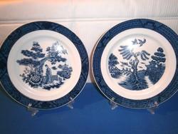 J_084 / 2 db Ritka Double Phoenix N.K.T. Ironstone kínai jelenetes Japánban készült porcelán tányér