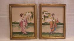 Varga Japán hölgyek a cseresznyefák alatt festmény pár