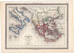 Ókori Görögország térkép, kiadva 1861, olasz, eredeti, atlasz, görög, történelmi, Macedonia, Tracia