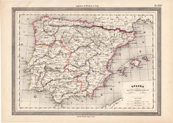 Ókori Spanyolország térkép, kiadva 1861, olasz, eredeti, atlasz, történelmi, Hispánia, római bir.