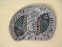 Retro Várdeák Ildikó kerámia kínáló hal motívummal  21 x 16 cm