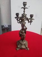 Szobros gyertyatartó kandelláber 4 ágú figurális fém