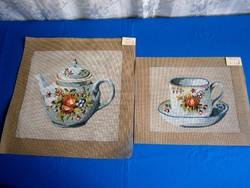 2 db nagyon szép hímzésre váró gobelin kép 35 x 35 és 30 x 25 cm teás kanna, bögre tállal