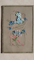 Régi képeslap virágos vintage üdvözlőlap