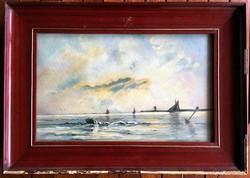 Hullámzó tenger bójával.. 1907 körül!!