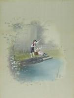 Bijon jelzéssel : Horgászok selyemkép (párkép)