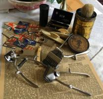 Antik borotválkozási és borbélykellékek