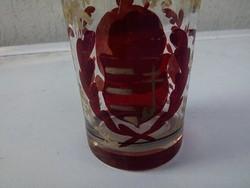 Régi festett rubinpácos üveg pohár Kossuth címeres.Ritkasàg 1848 szabadság harc emlék pohàr