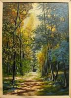 Moona - Őszi erdőt járva EREDETI OLAJFESTMÉNY