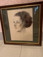 Női portré, ceruza, 33x33 kerettel