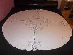 Szépséges régi hófehér vászon  asztalterítő   kézimunka