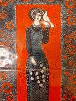 Régi kerámia falikép Vén Edit iparművész csempekép