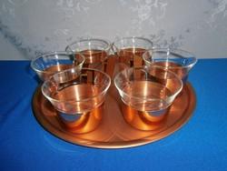 J_090 Schott & Gen Mainz Jena nagyon ritka teás készlet 6 jénai pohár füles tartóban fém tálcán