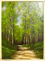 Moona - Tavaszi erdőt járva EREDETI OLAJFESTMÉNY