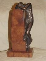 """Czobor Sándor """"Ábrándozó"""" c. bronz kisplasztika eredetiségigazolással és ingyen postával"""