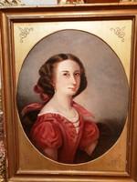 Biedermeier festmény- B.M- Fiatal hölgy portréja-
