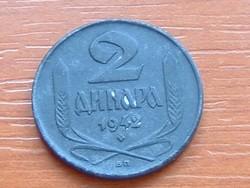 SZERBIA 2 DINÁR 1942 (BP) CINK #
